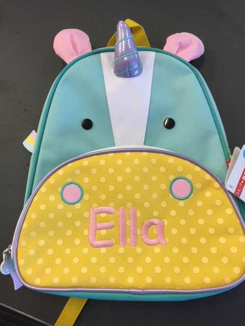 Custom embroidery on backpacks