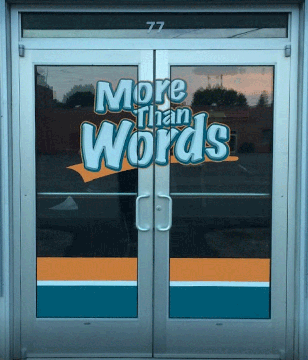 Front door of More Than Words in Torrington, CT.