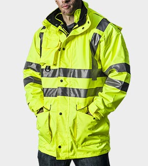 High visibility fireman's coat with reflective tape