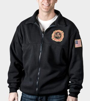 Black jacket with badge