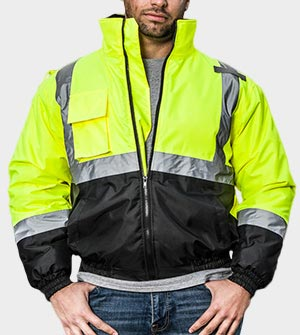High visibility jacket with black