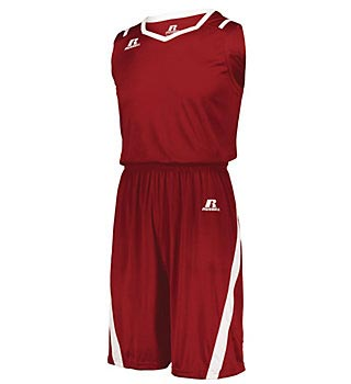 Men's sleeveless top and shorts team uniform in red