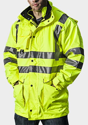 Fireman in high visibility coat