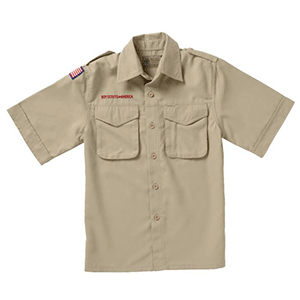 Tan Boy Scouts uniform shirt