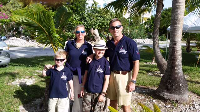 Family with embroidered navy polo shirts