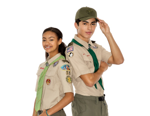 Girl and boy dressed in Scouts uniforms