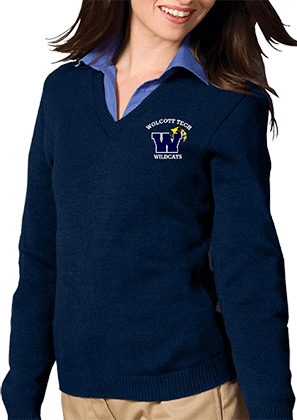 Wolcott Tech school uniform sweater in navy