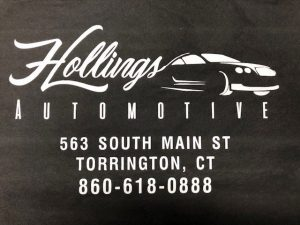 Black t-shirt with Hollings Automotive logo silk screen