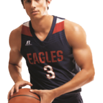 Male basketball player in navy sports team uniform