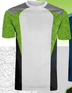 white t-shirt with green and black sublimation layering