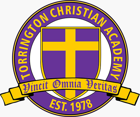 Torrington Christian Academy logo in purple and gold