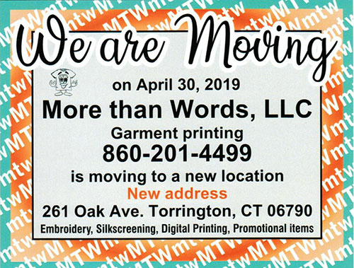 Postcard announcing that More Than Words is moving to 261 Oak Avenue in Torrington, CT